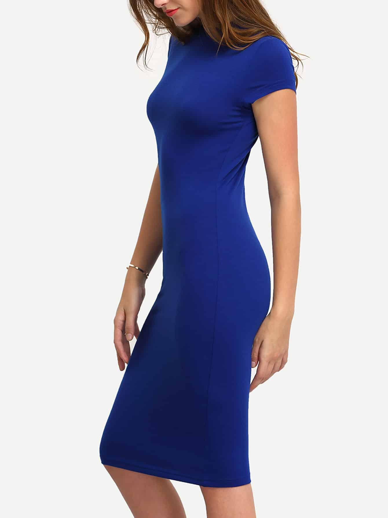 Bodycon Kleid knielang mit kurzen Ärmeln -blau- German SheIn(Sheinside)