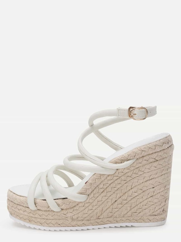 1f7cb0d5c White Strappy Espadrille Wedge Sandals | SHEIN UK