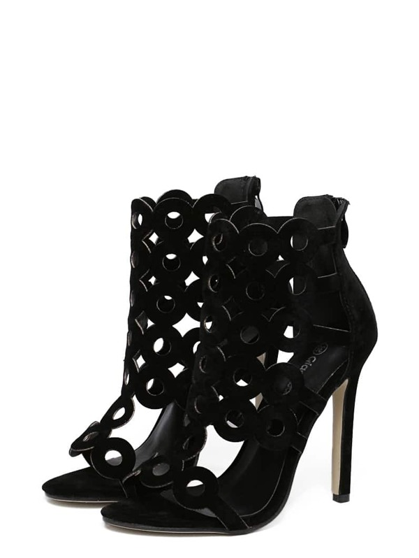 f0ad500e313b4a Black Faux Suede Laser-Cut Heeled Sandals -SHEIN(SHEINSIDE)