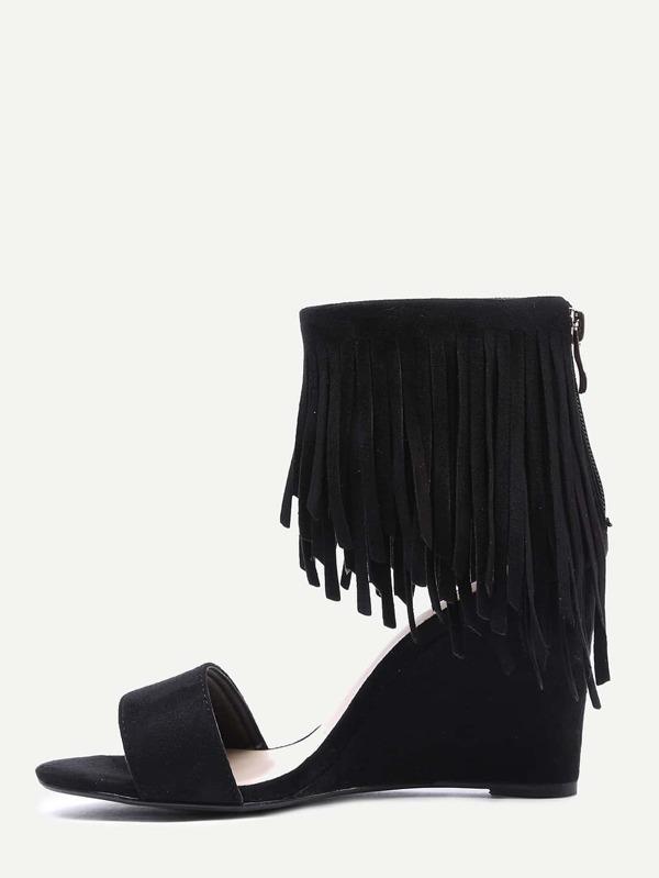 9c56b3675dc806 Faux Suede Wide Strap Fringe Ankle Wedges - Black -SheIn(Sheinside)