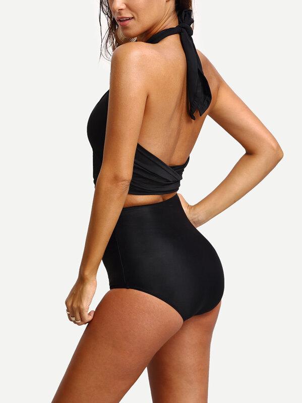 fd23b2d810cf6 Cross Wrap Halter High Waist Bikini Set | SHEIN