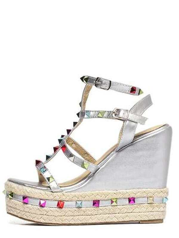 f1145db8c3f Caged Colorful Studded Wedge Espadrilles - Silver -SheIn(Sheinside)