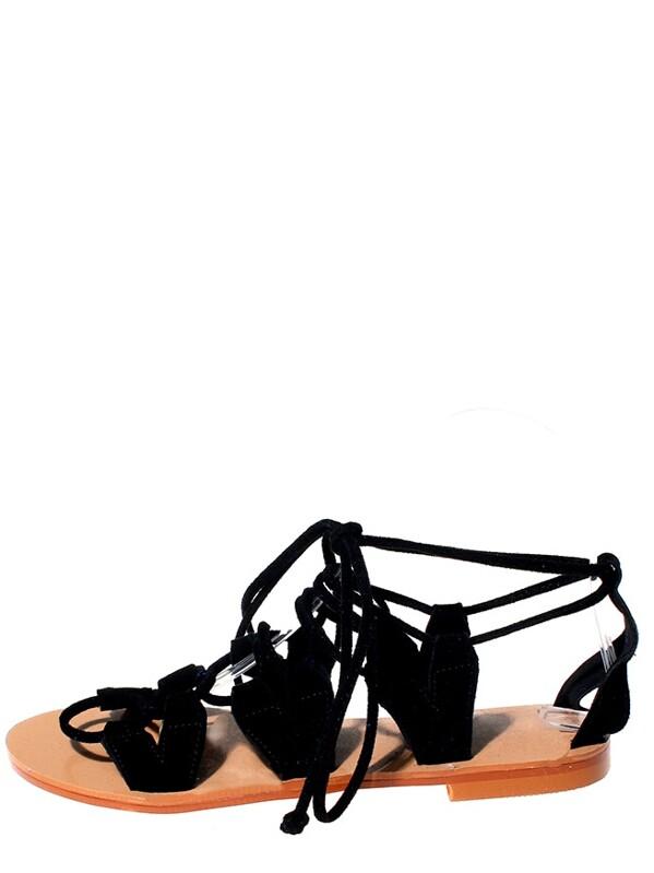 af8bb882e64651 Black Faux Suede Lace-Up Flat Sandals -SHEIN(SHEINSIDE)