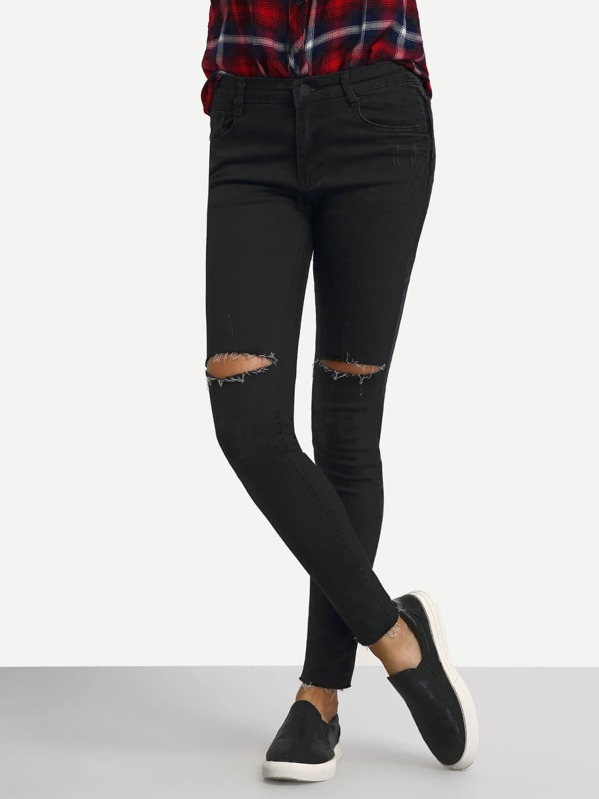 83421e80eb Cheap Knee Ripped Black Skinny Jeans for sale Australia | SHEIN