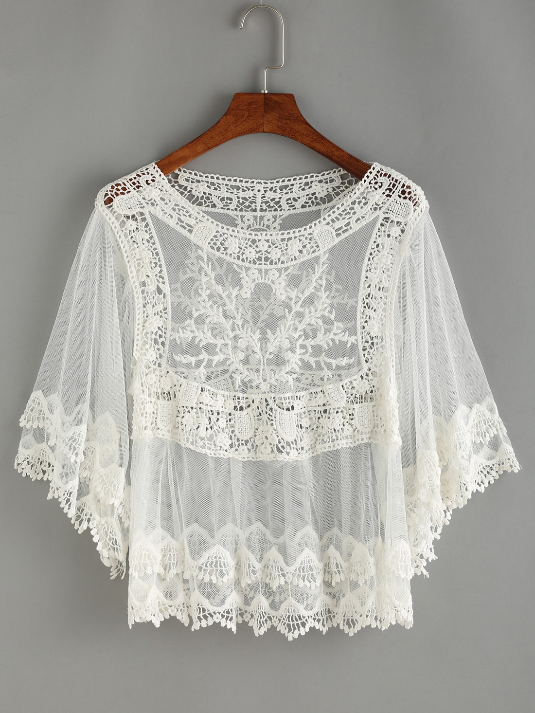 77afae261ee3 Crochet Inset Mesh Cover-UP Blouse