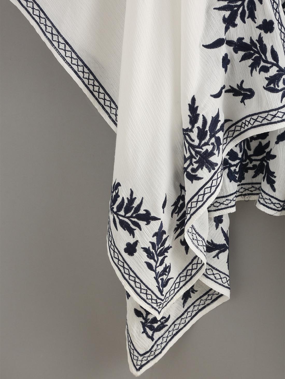 kimono offen vorne mit blumen stickerei in wei german shein sheinside. Black Bedroom Furniture Sets. Home Design Ideas