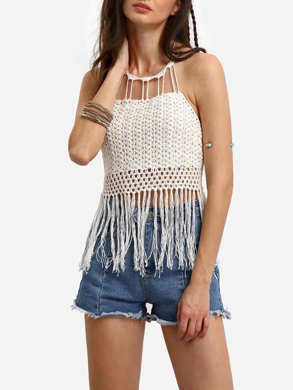 Tassel Trimmed Halter Lace Up Crochet Top Shein