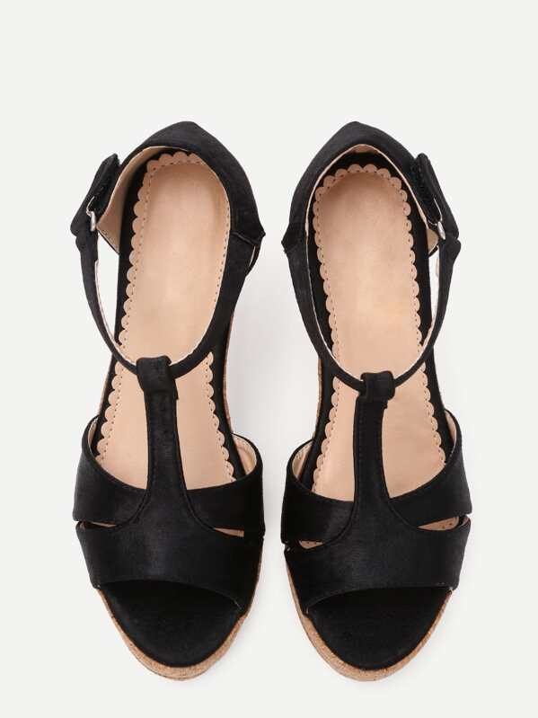 a808667703be80 Black Faux Suede T-Strap Wedge Sandals -SheIn(Sheinside)