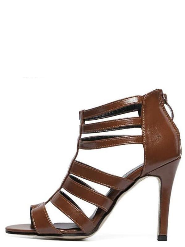 ab323dd188ee Caged Back Zip Heeled Sandals - Brown