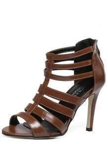 4d42a32a3d70 Caged Back Zip Heeled Sandals - Brown -SheIn(Sheinside)