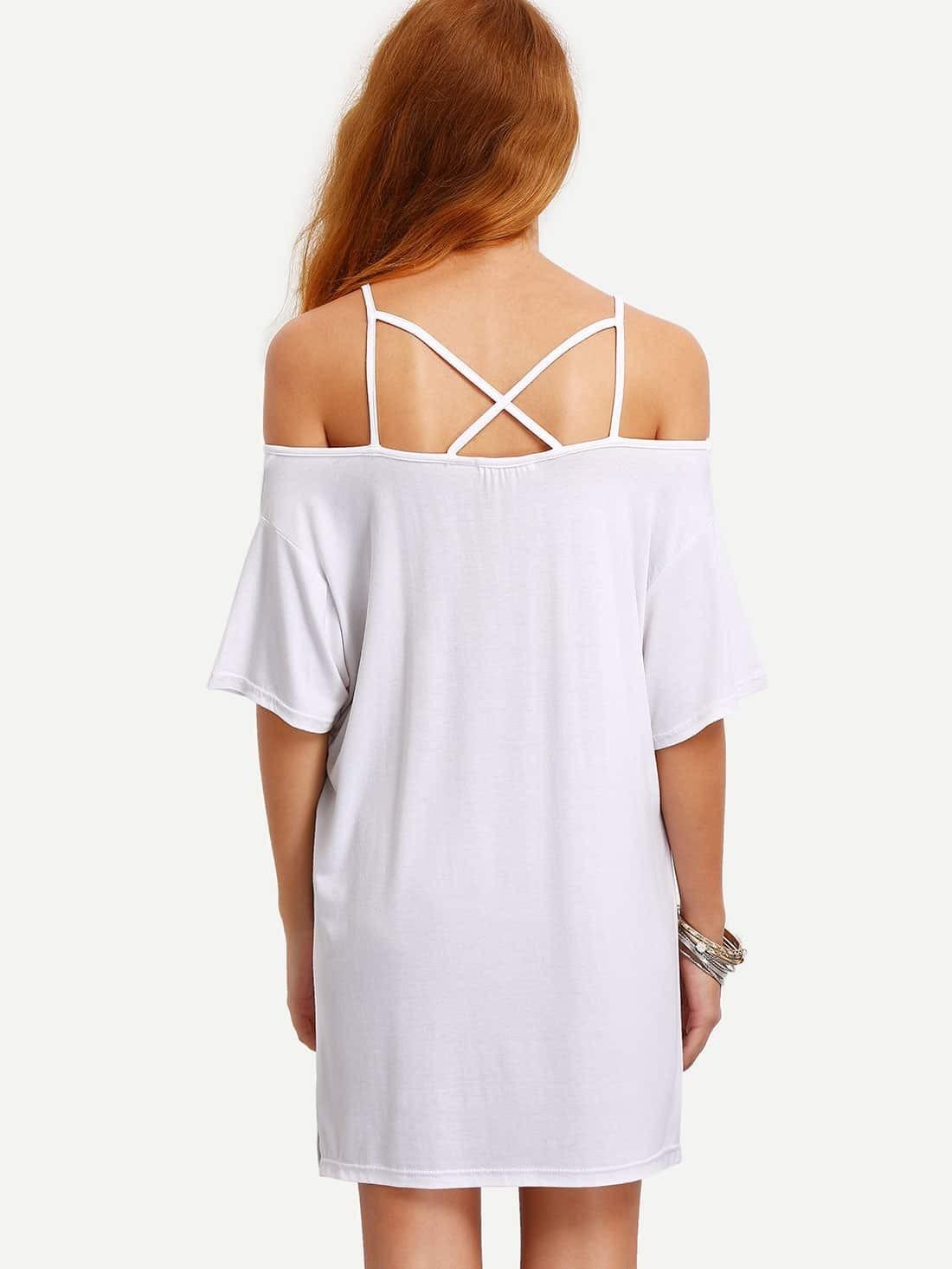 Kleid schulterfrei mit Spaghettiträger lässig -weiß | SHEIN