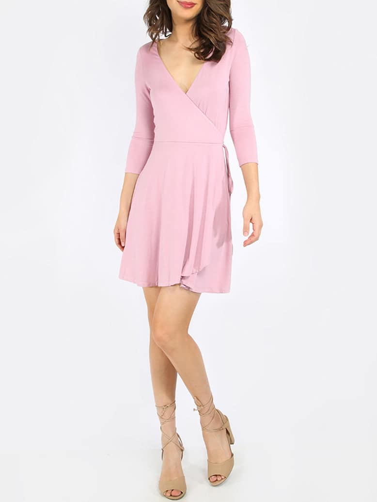 Purple V-neck Wrap Front Flowing Dress