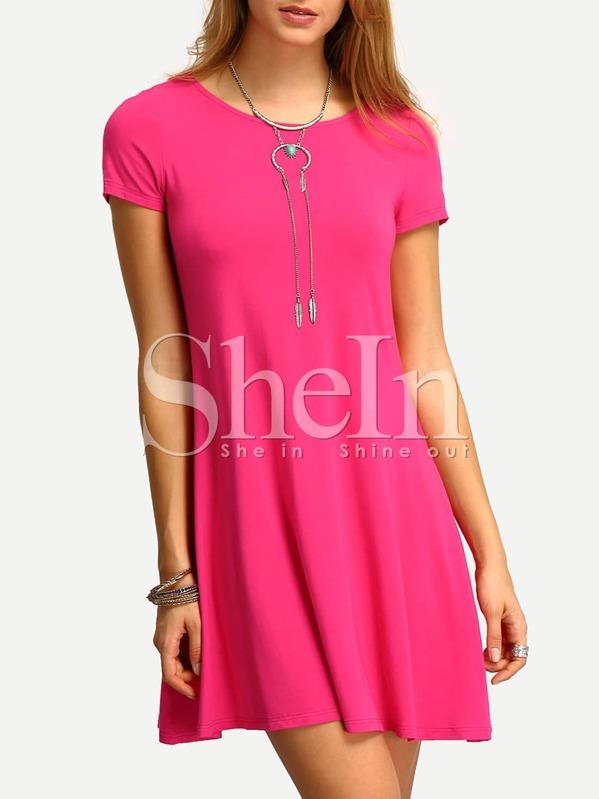 Hot Pink Short Sleeve Casual Shift Dress Shein