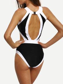 75d78b59d0403 Contrast High Neck Cutout One-Piece Swimwear   SHEIN