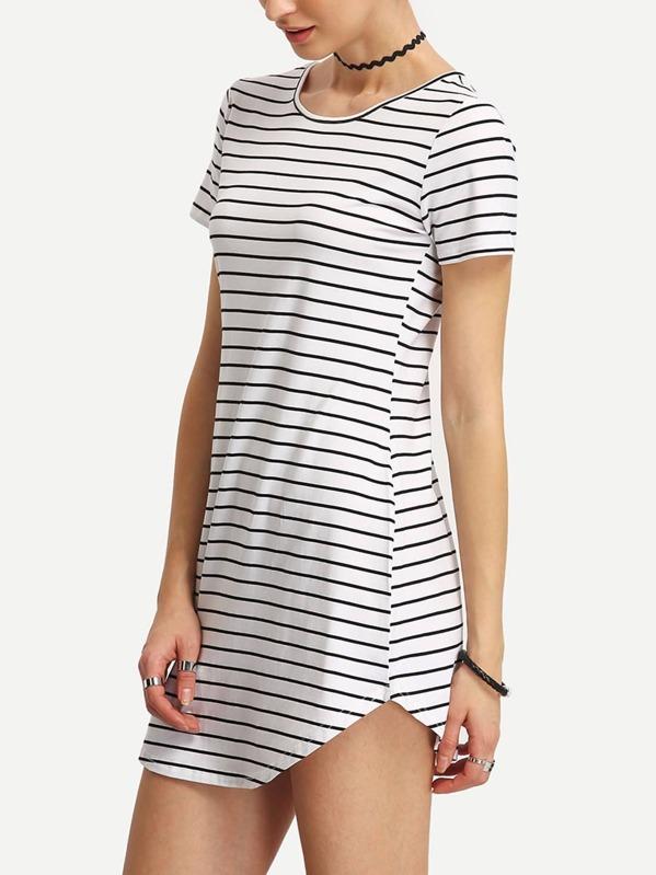 f10b77b9bb5 Striped Curved Hem T-shirt Dress