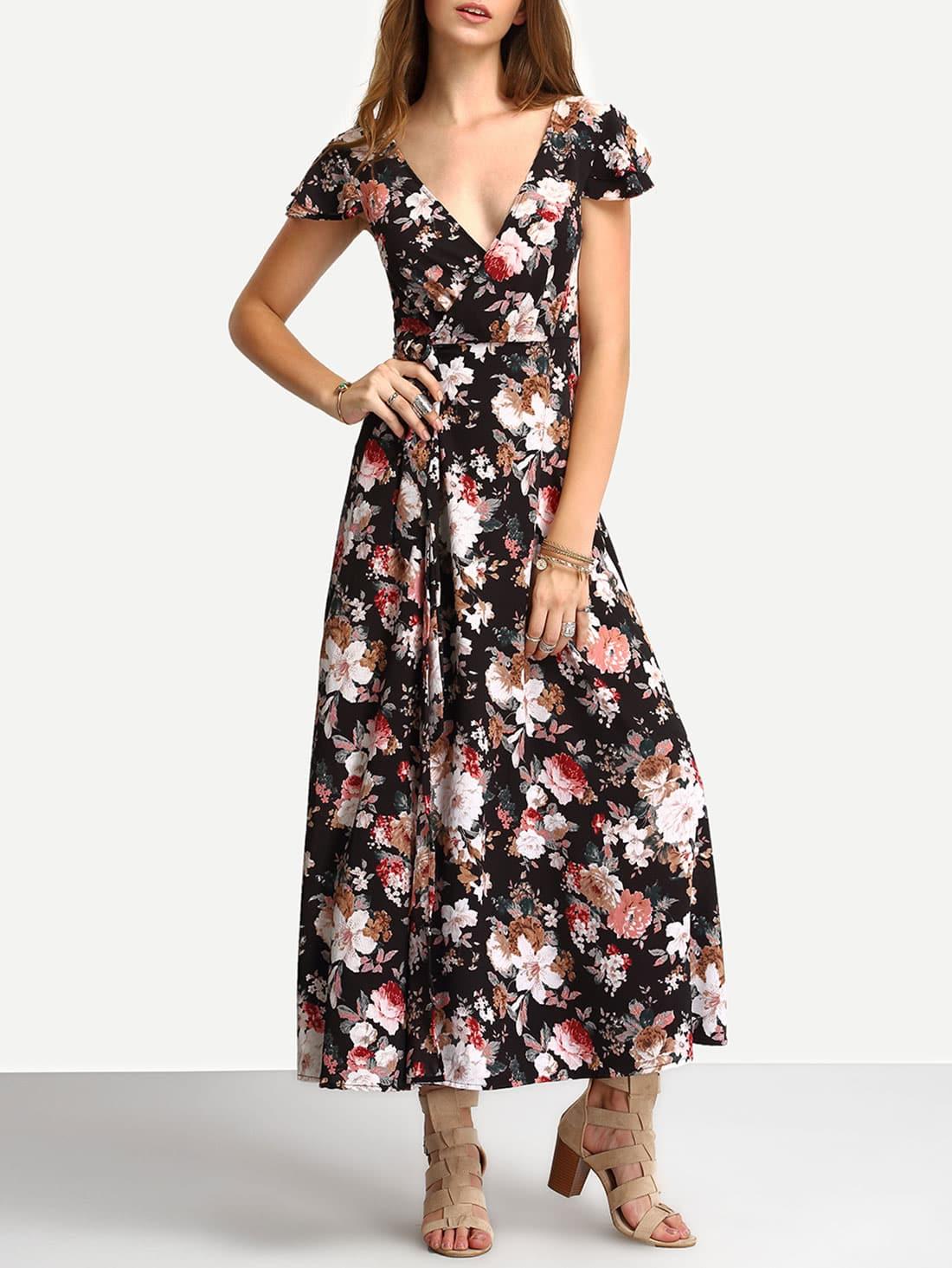 5552bbcdf4 Cheap Flower Print Self-Tie Lace-Up Long Dress for sale Australia ...