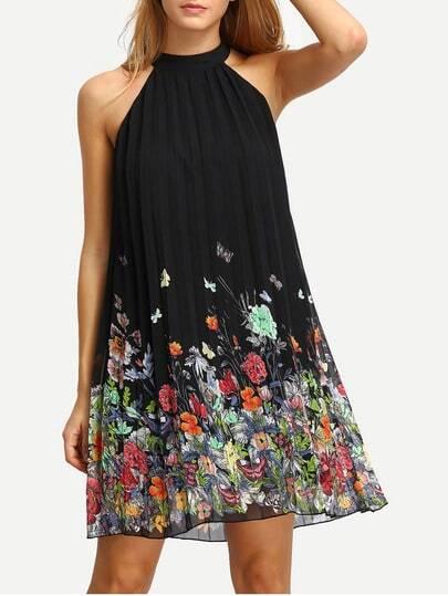 Black Print Cut Away Shift Dress