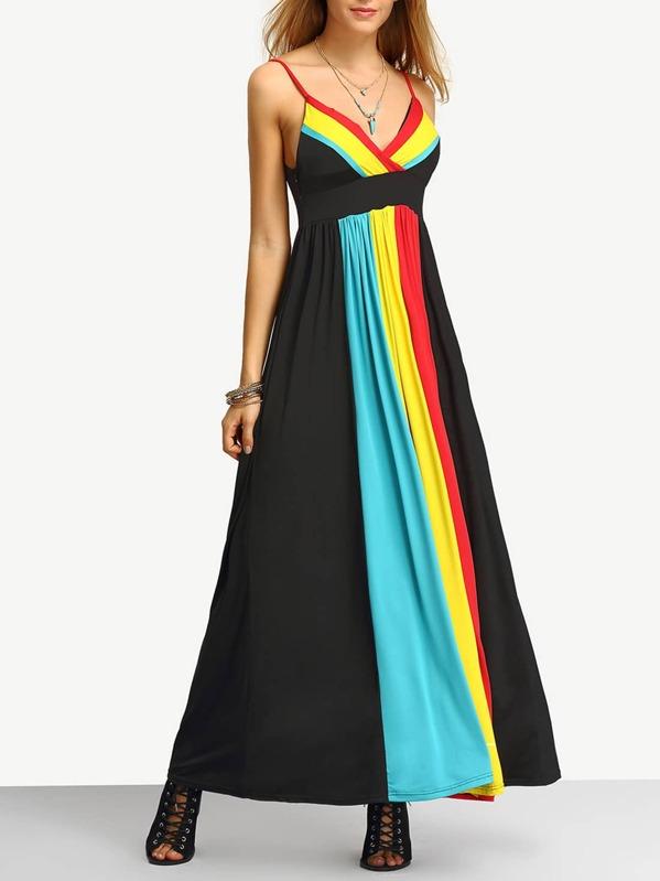 388afaeb66 Spaghetti Strap Color-block Maxi Dress | SHEIN