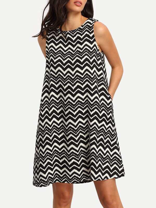 56fb980496f Black White Sleeveless Striped Shift Dress