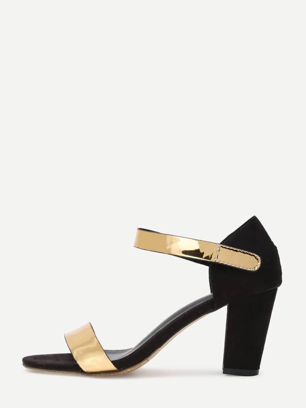 34c48218df6 Cheap Black Gold Open Toe High Chunky Heel Pumps for sale Australia ...