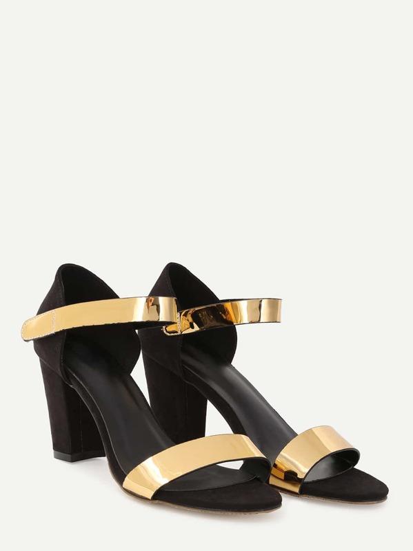 449dd7127d9 Black Gold Open Toe High Chunky Heel Pumps -SheIn(Sheinside)
