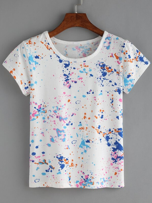 5c2cc266c3 Colorful Paint Splash T-shirt | SHEIN