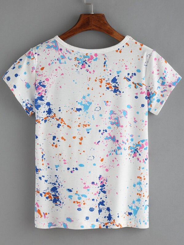 6b8a125c86 Colorful Paint Splash T-shirt | SHEIN