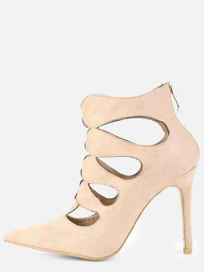 Pointy Toe Cut Out Booties NUDE
