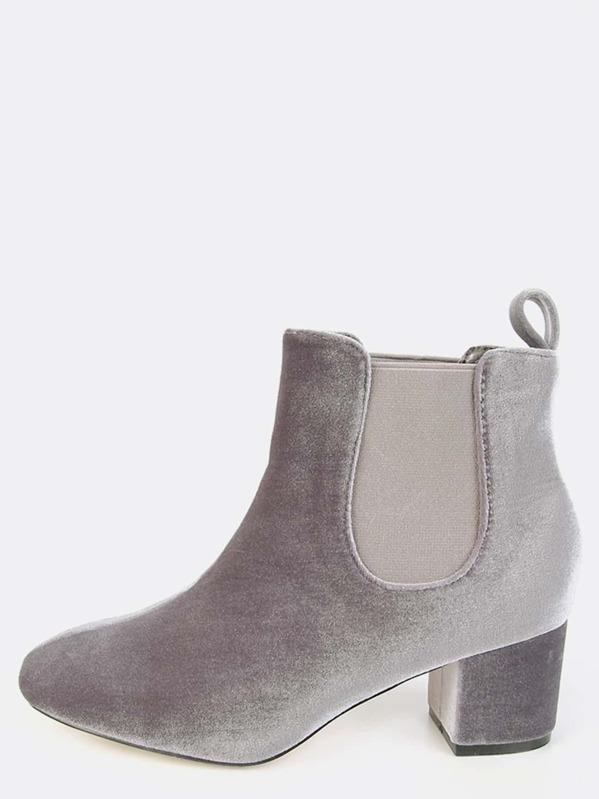Stivali con tacco basso effetto morbido velluto grigio grigio grigio Italian   dcaf34