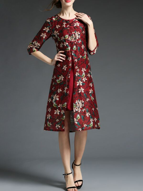 63b9b9a0a2540 Cheap Burgundy Floral Shift Silk Dress for sale Australia | SHEIN