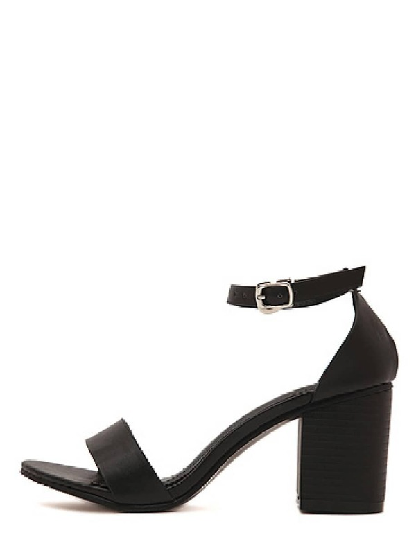 b69816371950bb Black Faux Suede Open Toe Ankle Strap Chunky Sandals -SheIn(Sheinside)