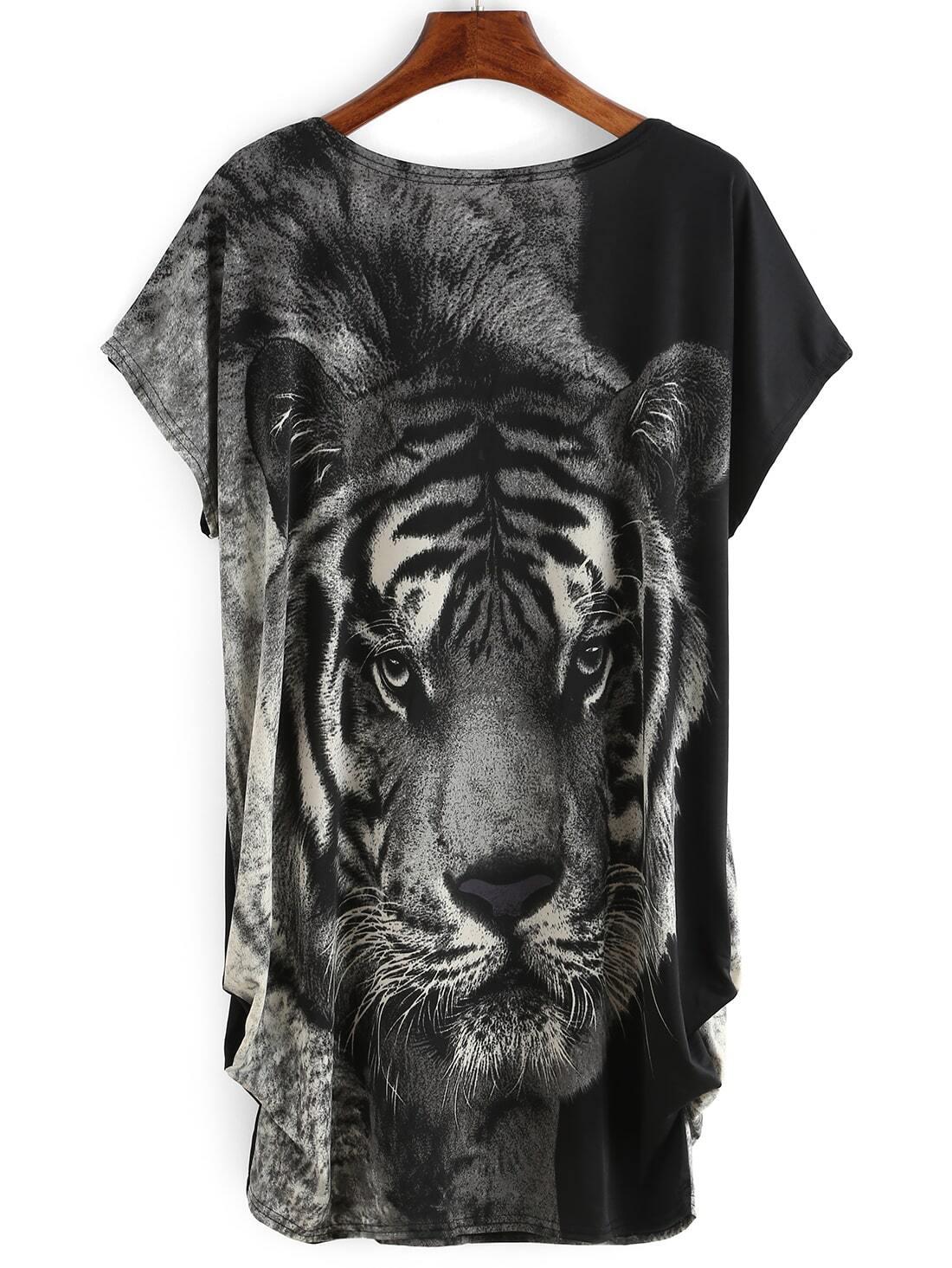 ec96bb87c685 Black Tiger Print T-shirt Dress | SHEIN