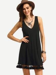 Vestido suelto con dobladillo de borlas espalda en V -negro  559e64780d0c
