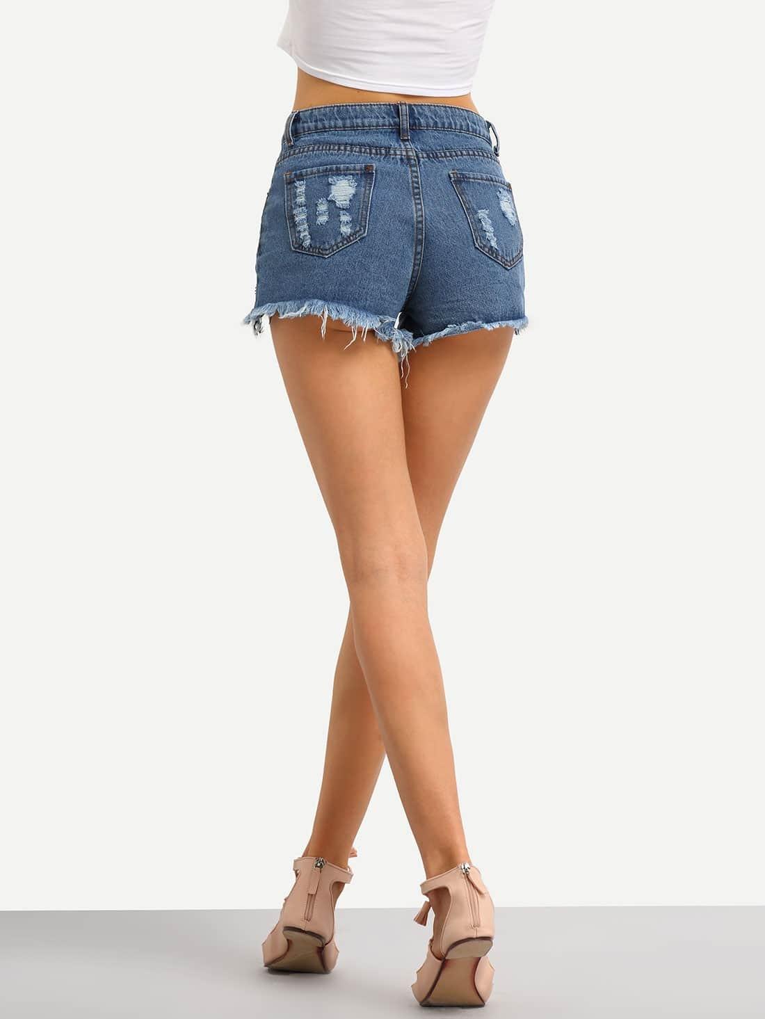 Ripped Denim Shorts -SheIn(Sheinside)