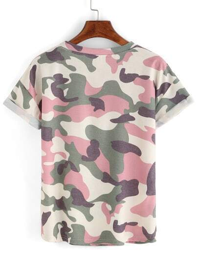 rolled sleeve camouflage t shirt shein sheinside. Black Bedroom Furniture Sets. Home Design Ideas