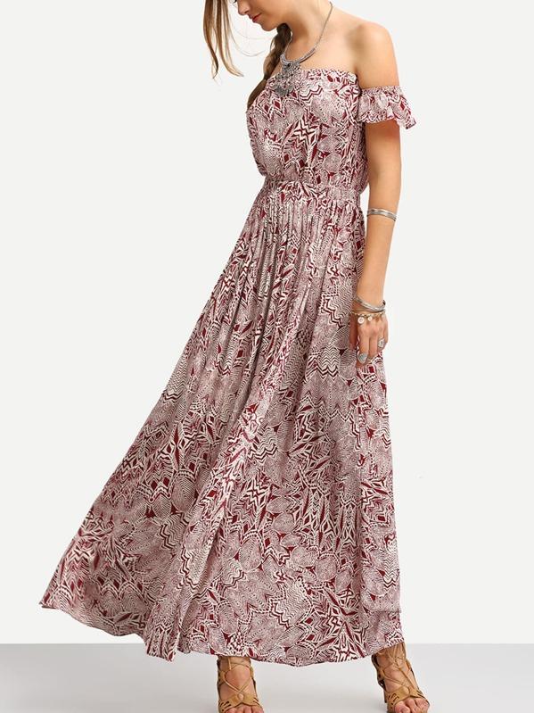 f08fc9ea6f17 Burgundy Print In White Off The Shoulder Maxi Dress -SheIn(Sheinside)