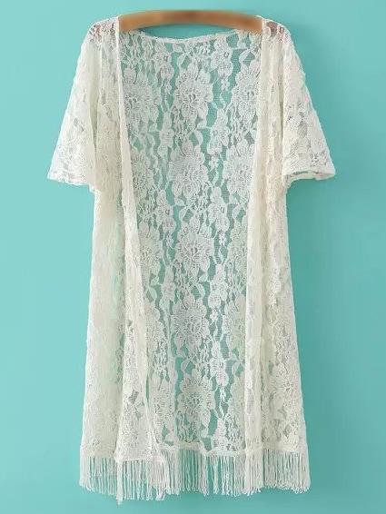 14e14babdbc Beige Short Sleeve Fringe Lace Cardigan Kimono -SheIn(Sheinside)