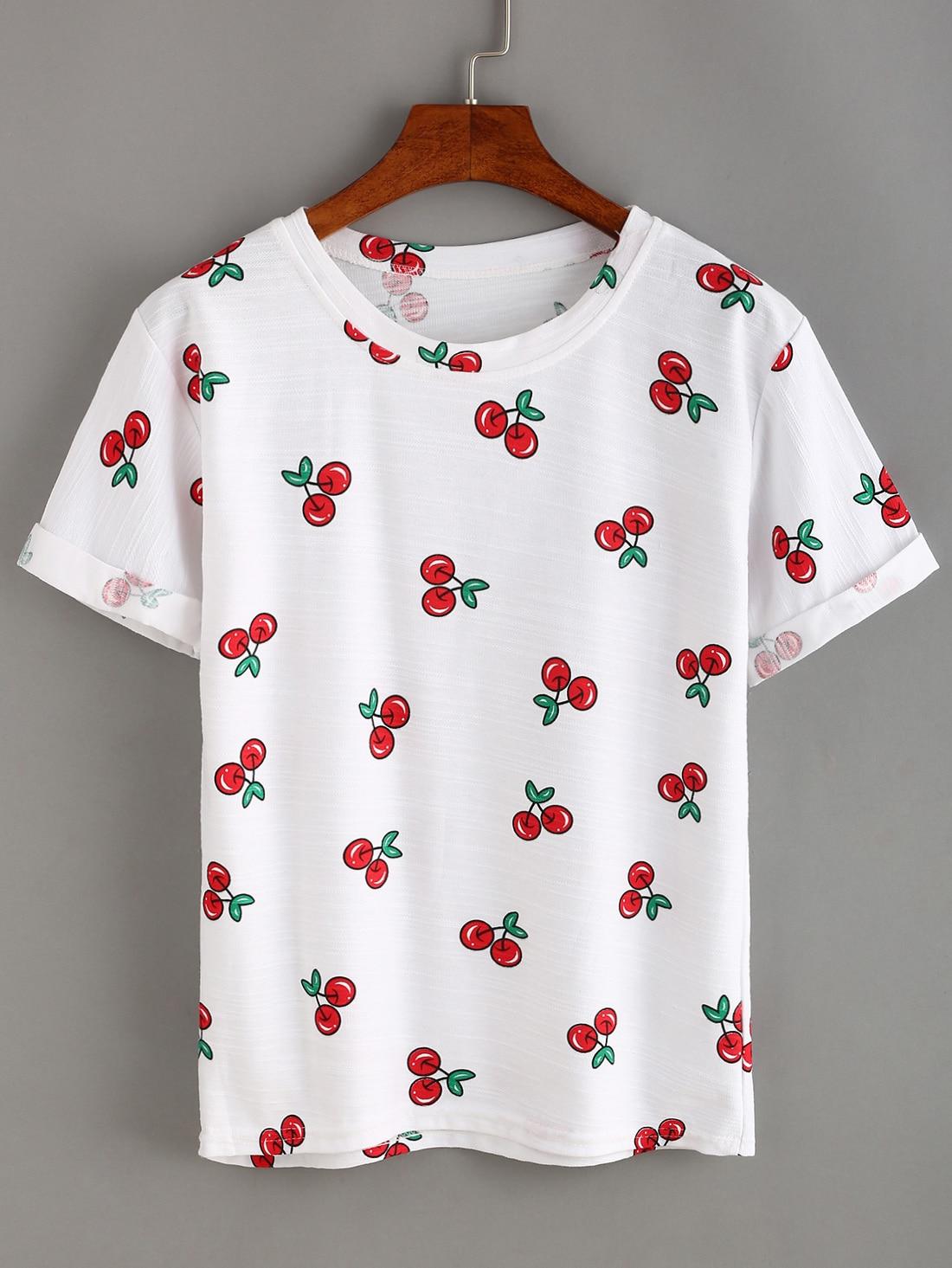 Allover Cherry Print T Shirt Shein Sheinside
