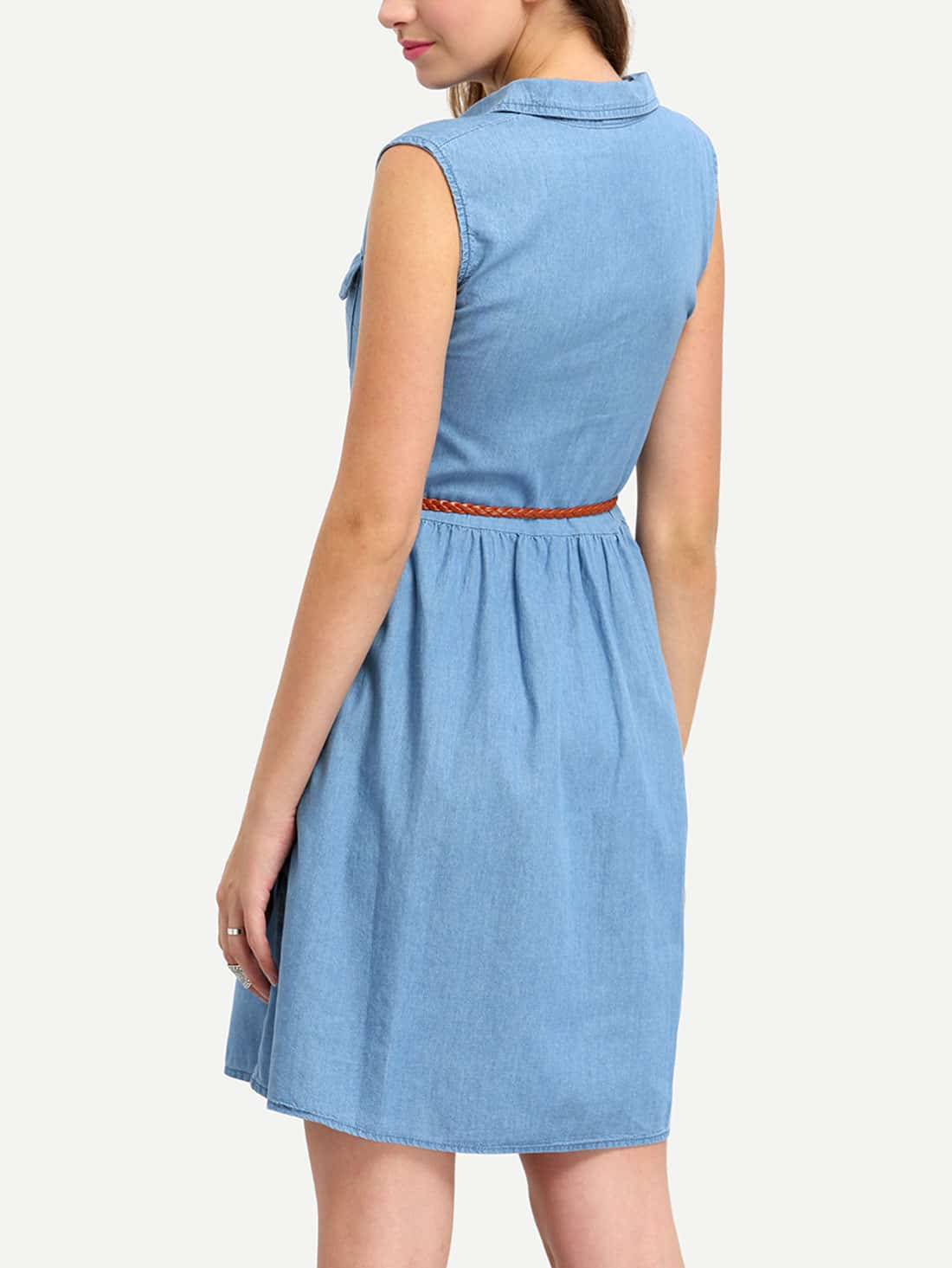 sleeveless denim dress with braided belt shein sheinside