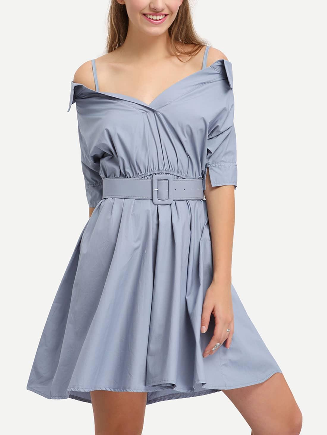Cami Kleid schulterfrei mit breitem Gürtel -blau | SHEIN