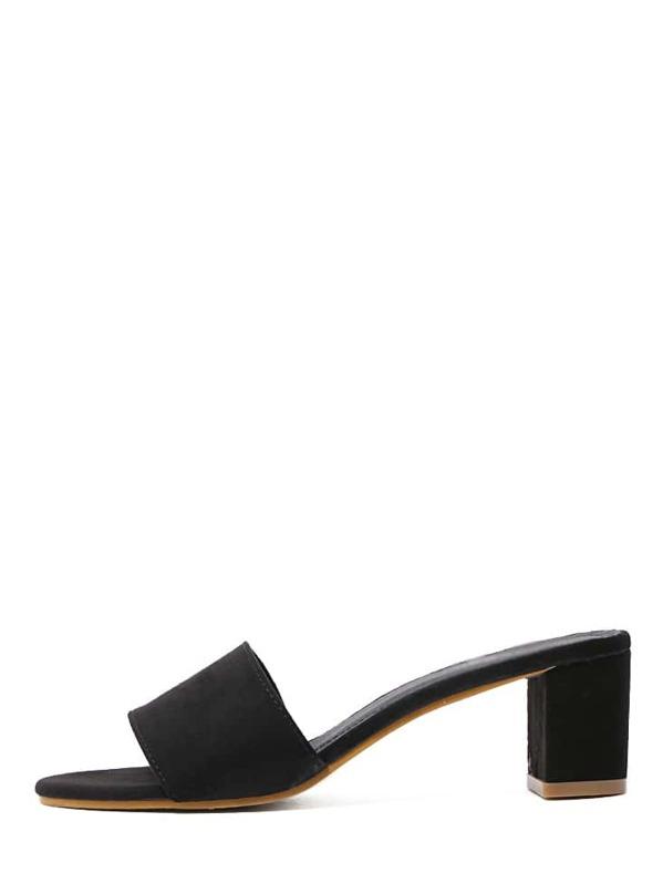81161e5cca97e2 Black Faux Suede Open Toe Chunky Sandals -SHEIN(SHEINSIDE)