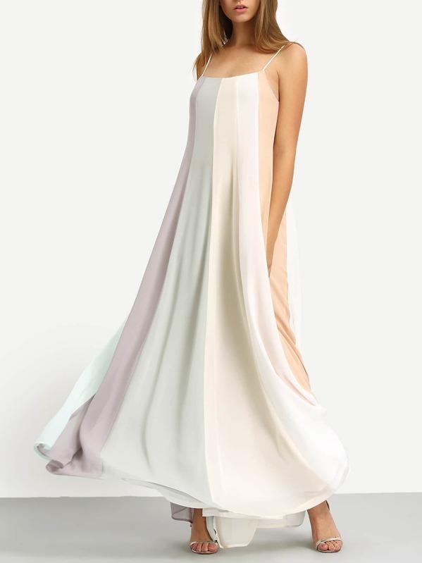 ce5e0173e4952 Colour Block Spaghetti Strap Maxi Dress   SHEIN UK