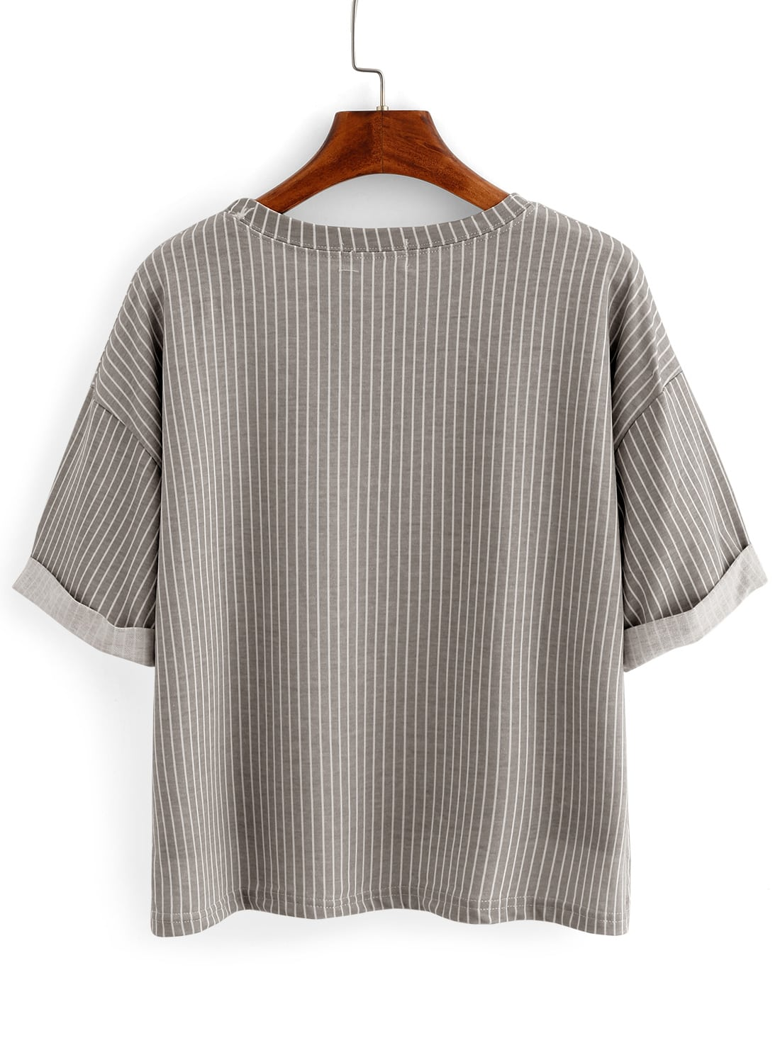 Vertical Striped High-Low Pocket T-shirt - Grey -SheIn ...