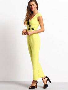 26a5f79c317 Yellow Sleeveless Flower Decoration Hollow Jumpsuit -SheIn(Sheinside)