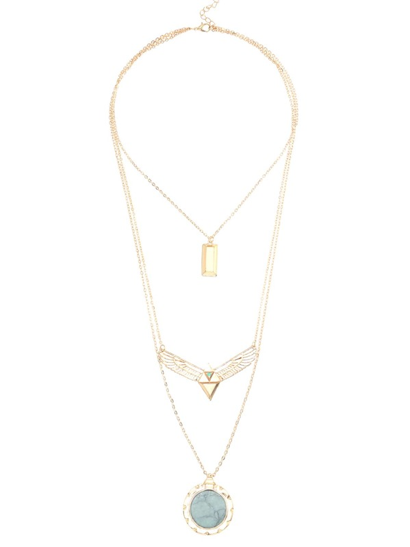 63254f8aaf Gold Turquoise Hanging Cards And Wing Layered Pendant Necklace | SHEIN