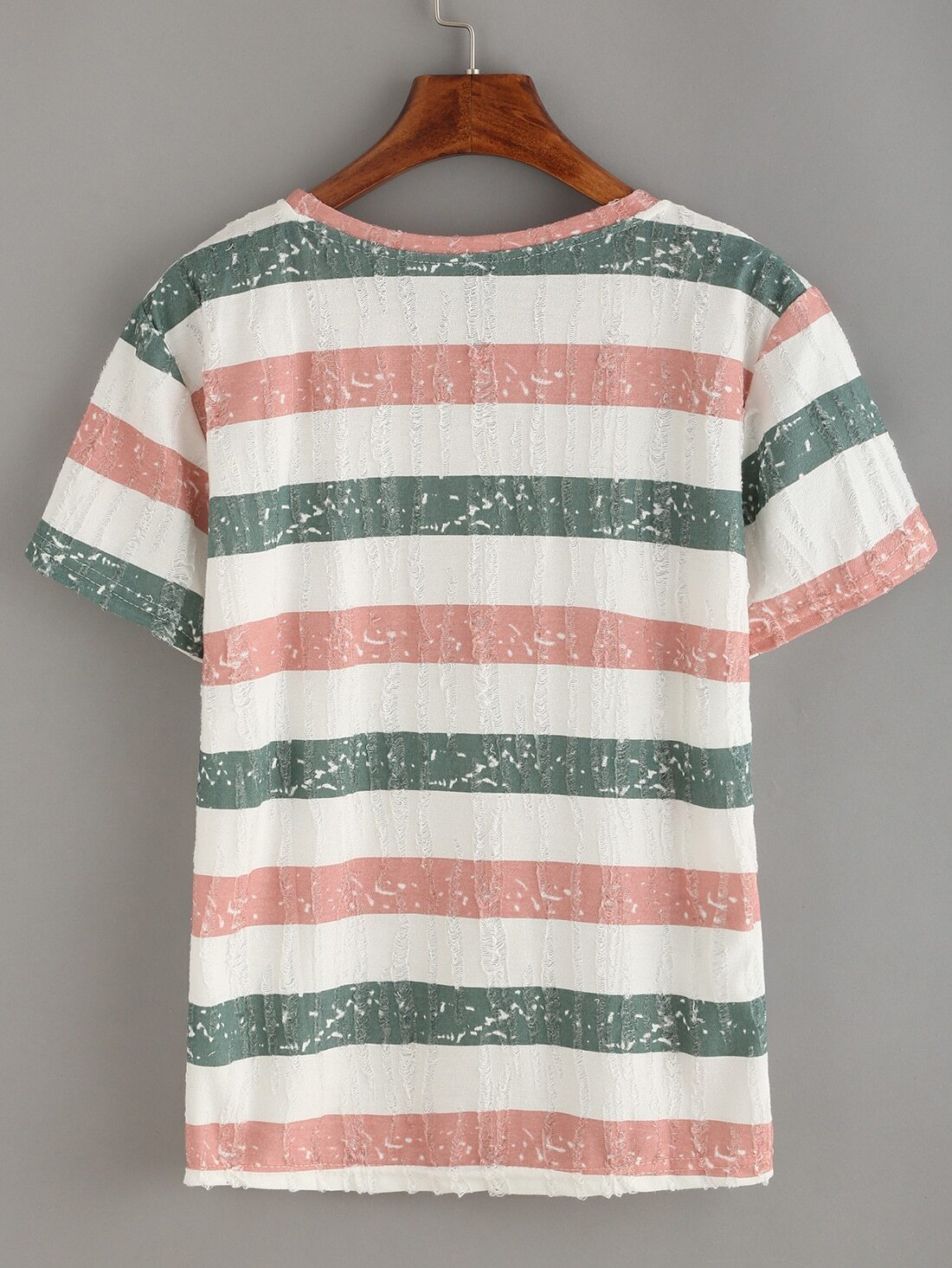 Red blue striped frayed t shirt shein sheinside for Red blue striped shirt