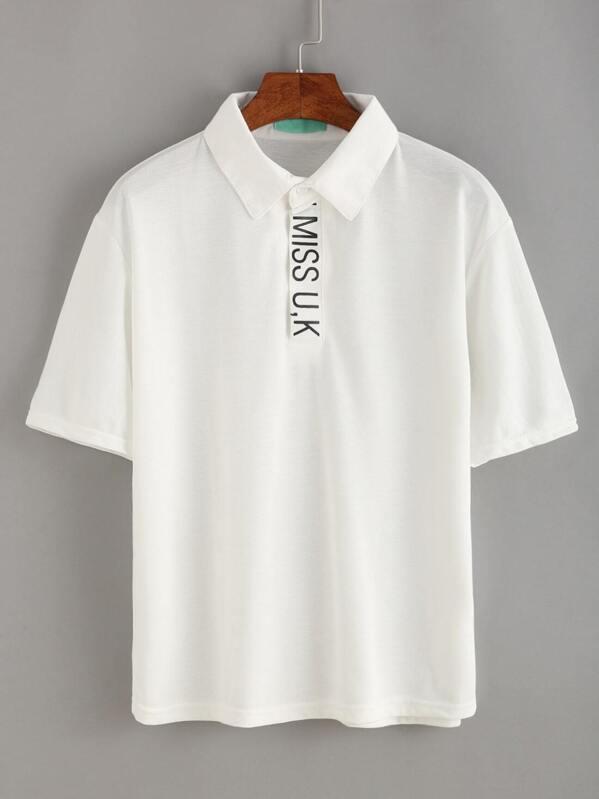 faad696216 Letter Print Polo T-shirt