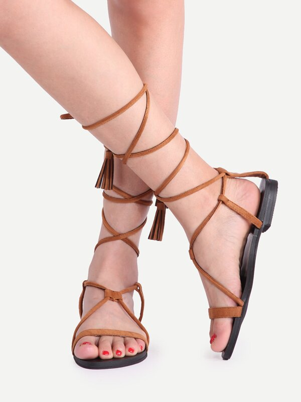 483dad2599b Brown Fringe Open Toe Lace Up Sandals -SheIn(Sheinside)