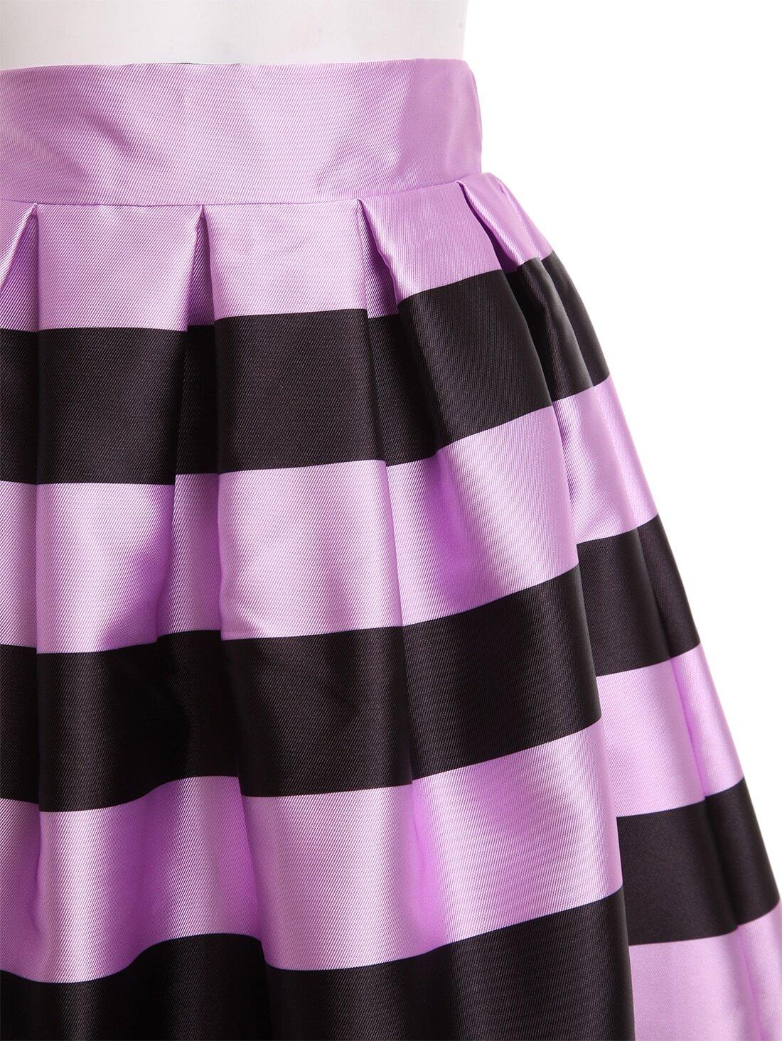wide striped box pleated midi skirt shein sheinside