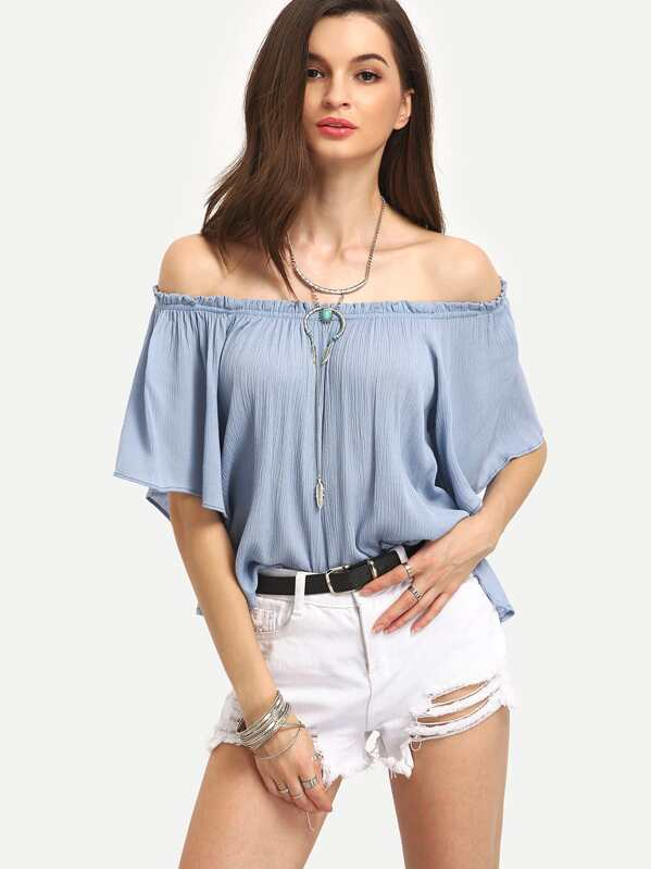a45e255bee151 Ruffled Off-The-Shoulder Swing Top - Blue